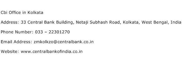 Cbi Office in Kolkata Address Contact Number