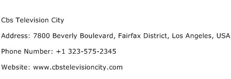 Cbs Television City Address Contact Number