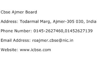 Cbse Ajmer Board Address Contact Number