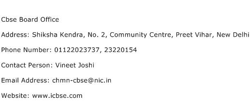 Cbse Board Office Address Contact Number