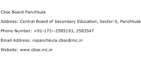 Cbse Board Panchkula Address Contact Number