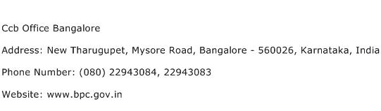 Ccb Office Bangalore Address Contact Number