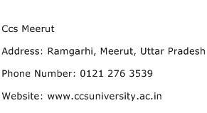 Ccs Meerut Address Contact Number