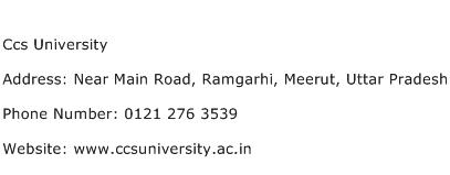 Ccs University Address Contact Number