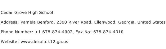Cedar Grove High School Address Contact Number