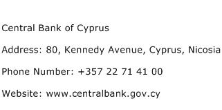 Central Bank of Cyprus Address Contact Number
