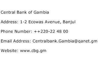 Central Bank of Gambia Address Contact Number
