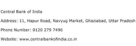 Central Bank of India Address Contact Number