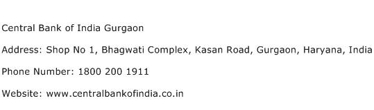 Central Bank of India Gurgaon Address Contact Number