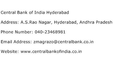 Central Bank of India Hyderabad Address Contact Number