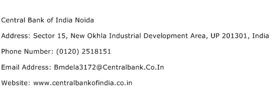 Central Bank of India Noida Address Contact Number