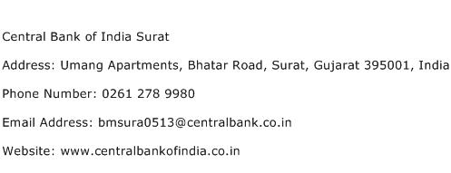 Central Bank of India Surat Address Contact Number