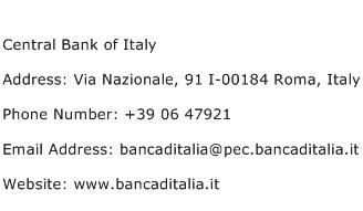 Central Bank of Italy Address Contact Number