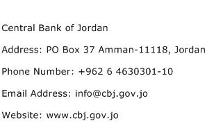 Central Bank of Jordan Address Contact Number