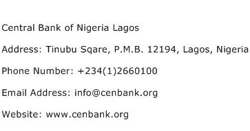 Central Bank of Nigeria Lagos Address Contact Number