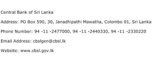 Central Bank of Sri Lanka Address Contact Number