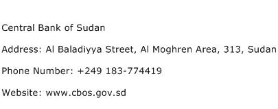 Central Bank of Sudan Address Contact Number