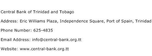 Central Bank of Trinidad and Tobago Address Contact Number