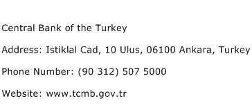 Central Bank of the Turkey Address Contact Number