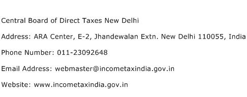 Central Board of Direct Taxes New Delhi Address Contact Number