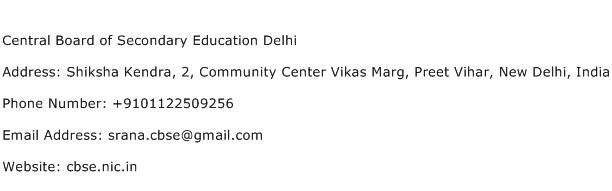 Central Board of Secondary Education Delhi Address Contact Number