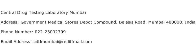 Central Drug Testing Laboratory Mumbai Address Contact Number