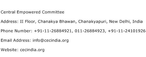 Central Empowered Committee Address Contact Number