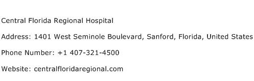 Central Florida Regional Hospital Address Contact Number