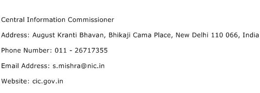 Central Information Commissioner Address Contact Number