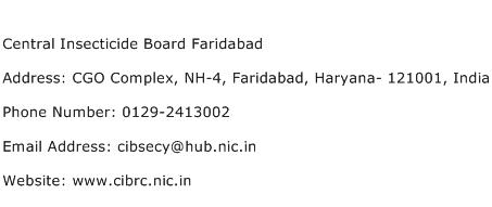 Central Insecticide Board Faridabad Address Contact Number