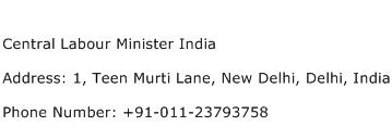 Central Labour Minister India Address Contact Number