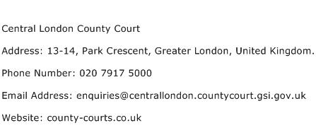 Central London County Court Address Contact Number