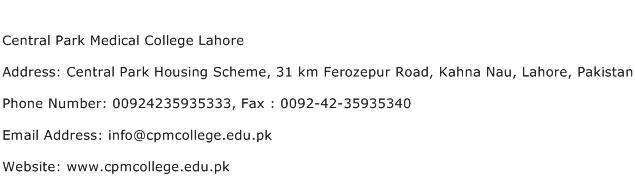 Central Park Medical College Lahore Address Contact Number