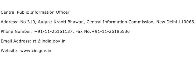 Central Public Information Officer Address Contact Number