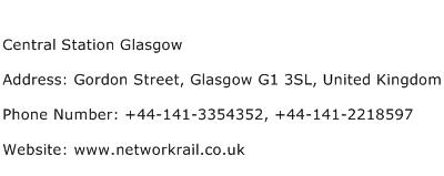 Central Station Glasgow Address Contact Number