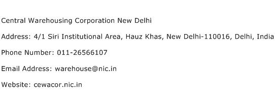 Central Warehousing Corporation New Delhi Address Contact Number
