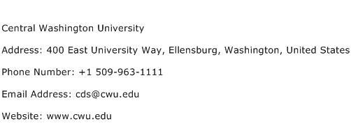 Central Washington University Address Contact Number
