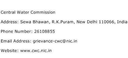 Central Water Commission Address Contact Number