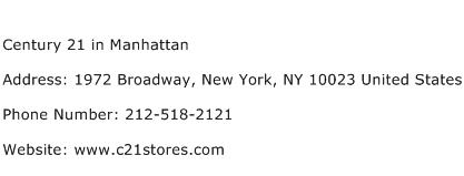 Century 21 in Manhattan Address Contact Number