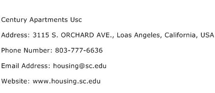 Century Apartments Usc Address Contact Number