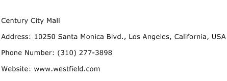 Century City Mall Address Contact Number