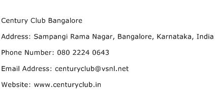 Century Club Bangalore Address Contact Number