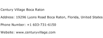 Century Village Boca Raton Address Contact Number