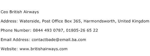 Ceo British Airways Address Contact Number