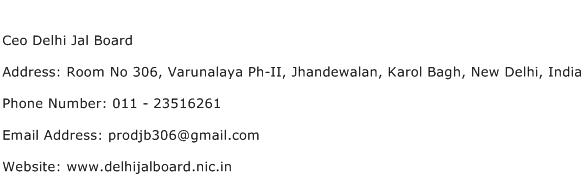 Ceo Delhi Jal Board Address Contact Number