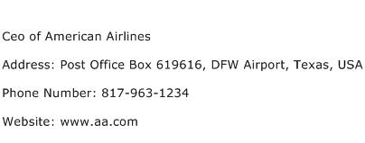 Ceo of American Airlines Address Contact Number
