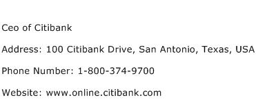 Ceo of Citibank Address Contact Number