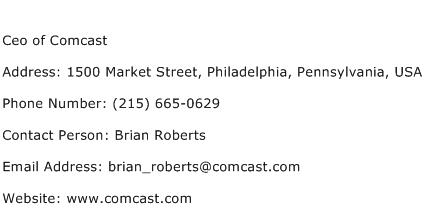 Ceo of Comcast Address Contact Number