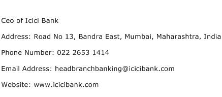 Ceo of Icici Bank Address Contact Number