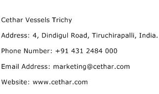 Cethar Vessels Trichy Address Contact Number